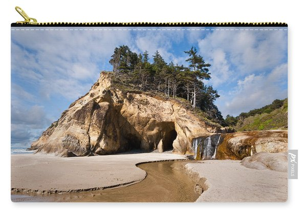 Waterfall Flowing Into The Pacific Ocean Carry-all Pouch