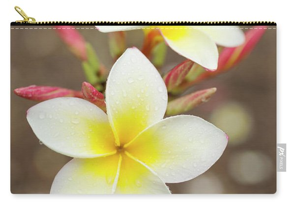 White Plumeria Carry-all Pouch