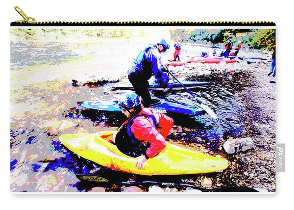 White Water Kayaker Digital Art Carry-all Pouch