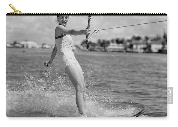 Woman Water Skiing Carry-all Pouch