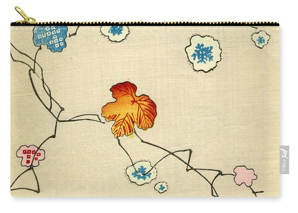 Woodblock Print Of Fall Leaves Carry-all Pouch
