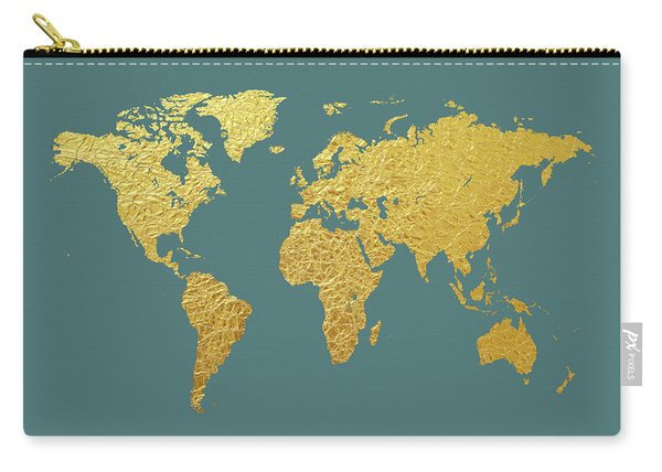 World Map Gold Foil Carry-all Pouch