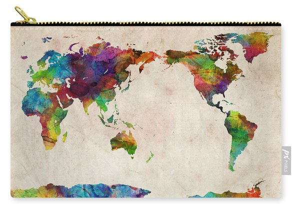 World Map Urban Watercolor Pacific Carry-all Pouch