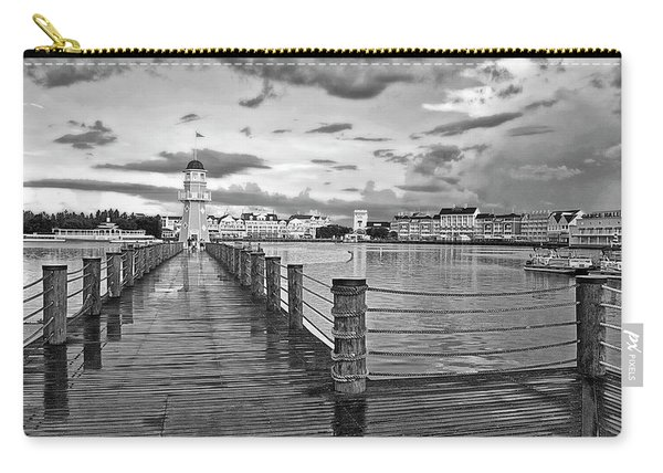 Yacht And Beach Lighthouse In Black And White Walt Disney World Mp Carry-all Pouch