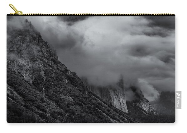 Yosemite Valley Panorama In Black And White Carry-all Pouch