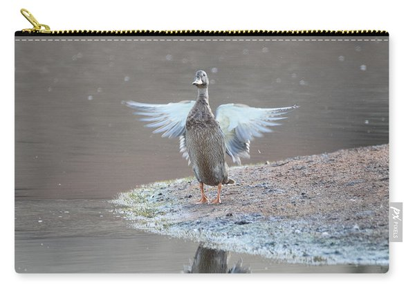 Carry-all Pouch featuring the photograph Mallard Duck Burgess Res Divide Co by Margarethe Binkley