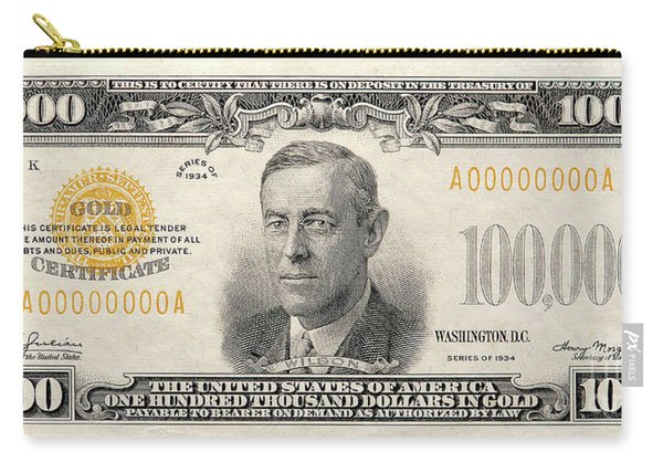 $100,000 Bill Circa 1934 Carry-all Pouch