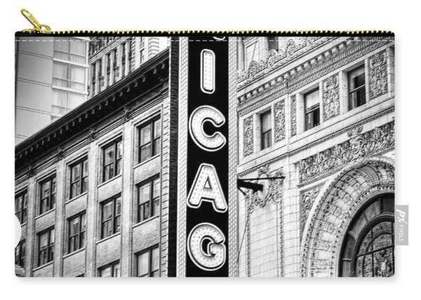 1077 Chicago Theater Black And White Carry-all Pouch