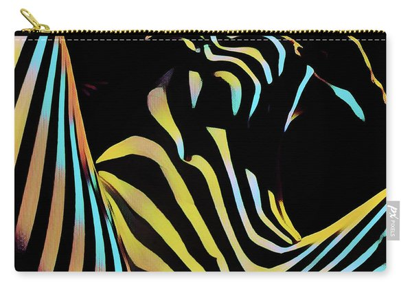 1149s-ak Dramatic Zebra Striped Woman Rendered In Composition Style Carry-all Pouch