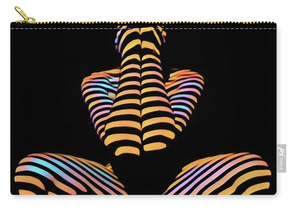 1183s-mak Hands Over Face Zebra Striped Woman Rendered In Composition Style Carry-all Pouch