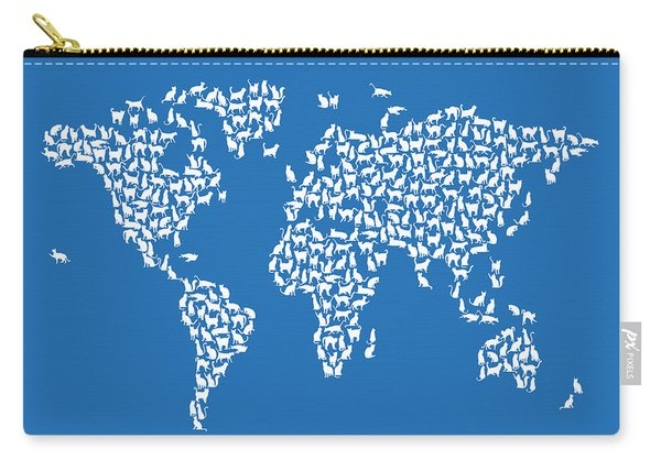 Cats Map Of The World Map Carry-all Pouch
