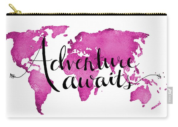 12x16 Adventure Awaits Pink Map Carry-all Pouch