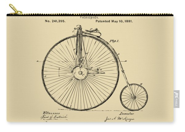 1881 Velocipede Bicycle Patent Artwork - Vintage Carry-all Pouch