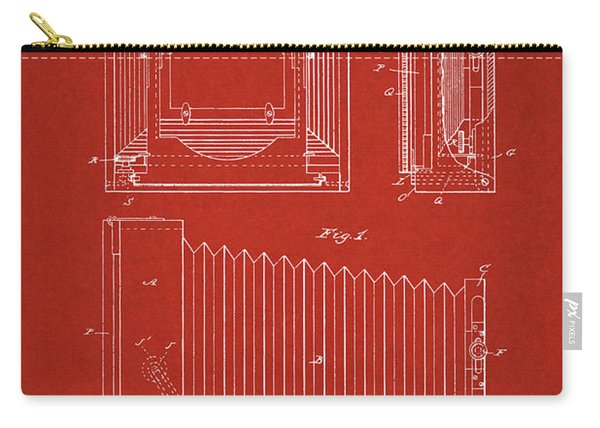 1891 Camera Us Patent Invention Drawing - Red Carry-all Pouch