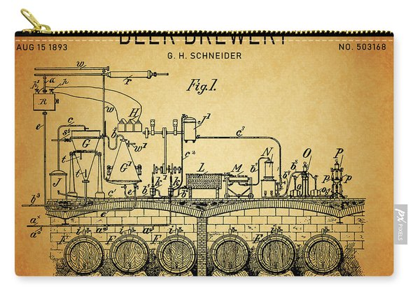 1893 Beer Brewery Patent Carry-all Pouch