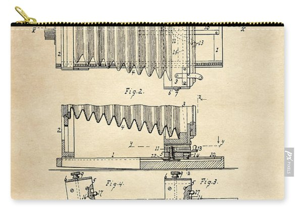 1897 Camera Us Patent Invention Drawing - Vintage Tan Carry-all Pouch