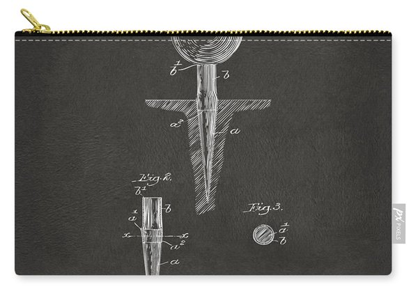 1899 Golf Tee Patent Artwork - Gray Carry-all Pouch