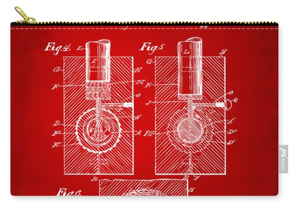 1902 Golf Ball Patent Artwork Red Carry-all Pouch
