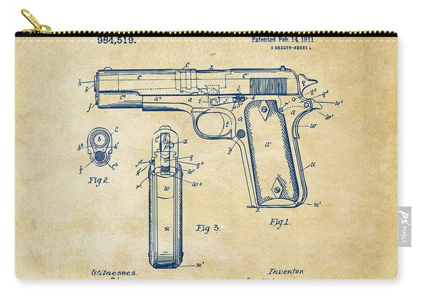 1911 Colt 45 Browning Firearm Patent Artwork Vintage Carry-all Pouch