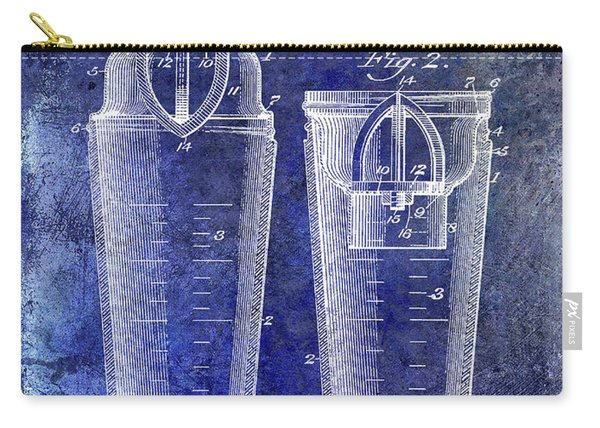 1913 Cocktail Shaker Patent Blue Carry-all Pouch