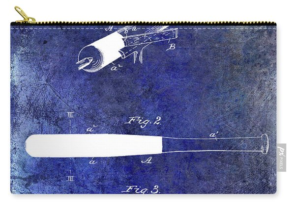 1920 Baseball Bat Patent Blue Carry-all Pouch