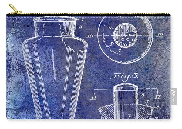 1925 Cocktail Shaker Patent Blue Carry-all Pouch