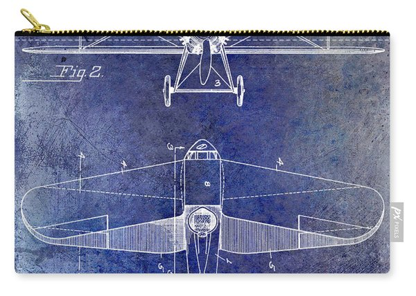 1929 Airplane Patent Blue Carry-all Pouch