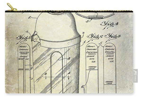 1930 Cocktail Shaker Patent Carry-all Pouch