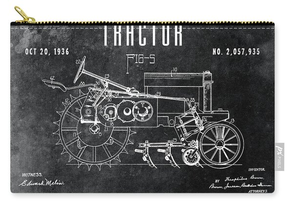 1936 Chalkboard Tractor Patent Carry-all Pouch