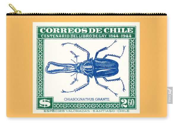 1948 Chile Stag Beetle Postage Stamp Carry-all Pouch