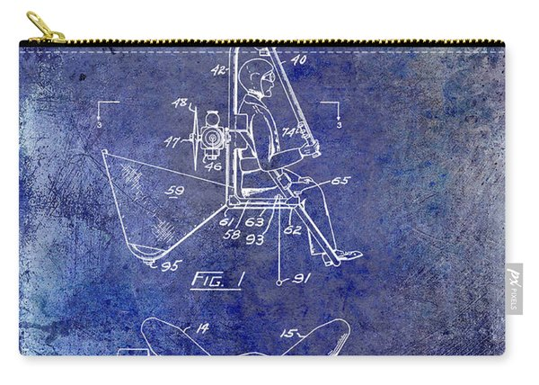 1956 Helicopter Patent Blue Carry-all Pouch