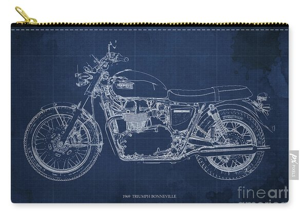1969 Triumph Bonneville Blueprint Blue Background Carry-all Pouch