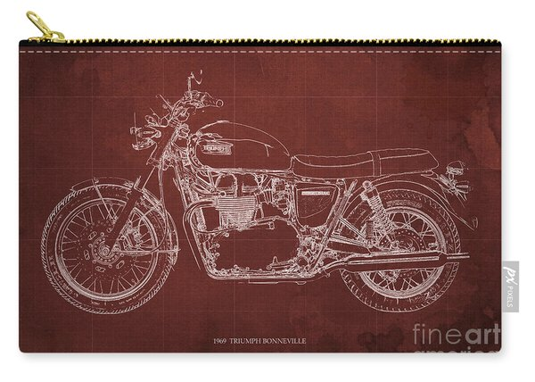 1969 Triumph Bonneville Blueprint Red Background Carry-all Pouch