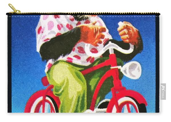 1973 Mongolia Chimpanzee Riding Bicycle Postage Stamp Carry-all Pouch