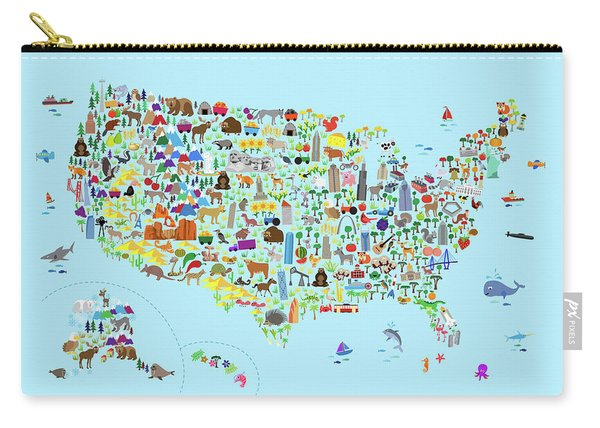 Animal Map Of United States For Children And Kids Carry-all Pouch