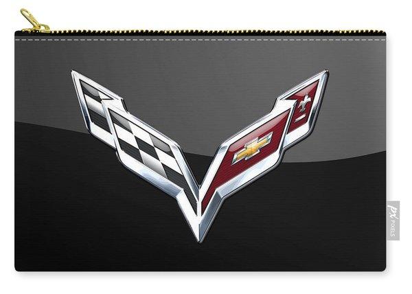 Chevrolet Corvette 3d Badge On Black Carry-all Pouch