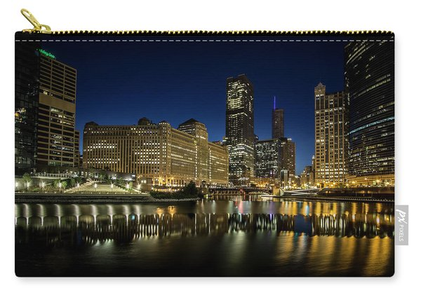 Chicago River And Skyline At Dawn Carry-all Pouch