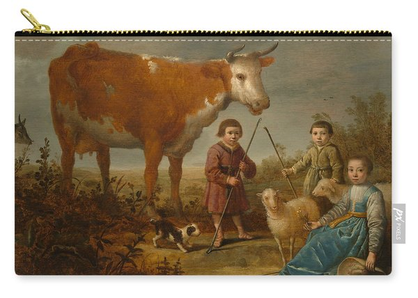Children And A Cow Carry-all Pouch