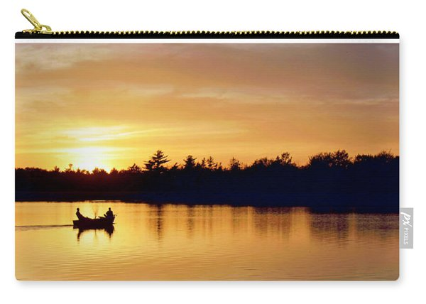 Fishermen On A Lake At Sunset Carry-all Pouch