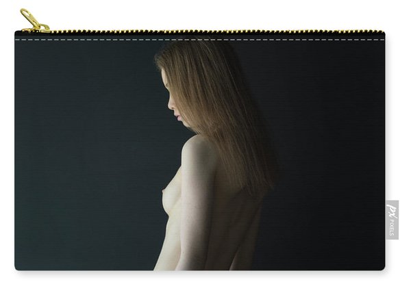 Girl In Front Of Black Wall Carry-all Pouch