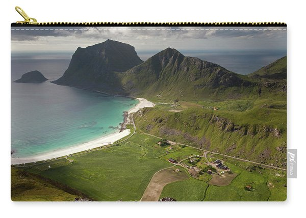 Haukland And Vik Beaches From Holandsmelen Carry-all Pouch