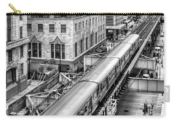 Historic Chicago El Train Black And White Carry-all Pouch