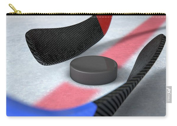 Ice Hockey Sticks And Puck Carry-all Pouch