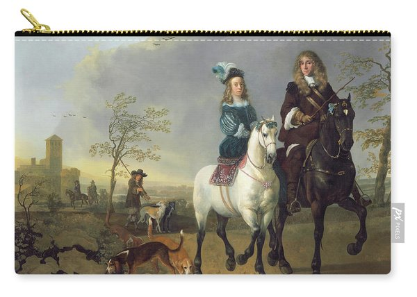 Lady And Gentleman On Horseback Carry-all Pouch