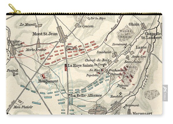 Map Of The Battle Of Waterloo Carry-all Pouch