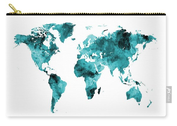 Map Of The World Map Watercolor Carry-all Pouch