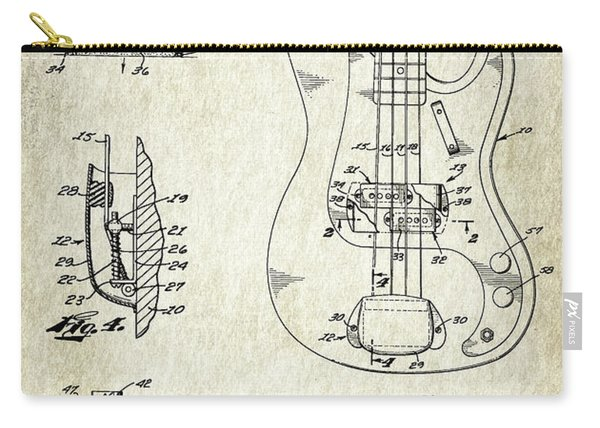 Patent Drawing For The 1959 Electromagnetic Pickup For Lute Type Musical Instrument By C. L. Fender Carry-all Pouch
