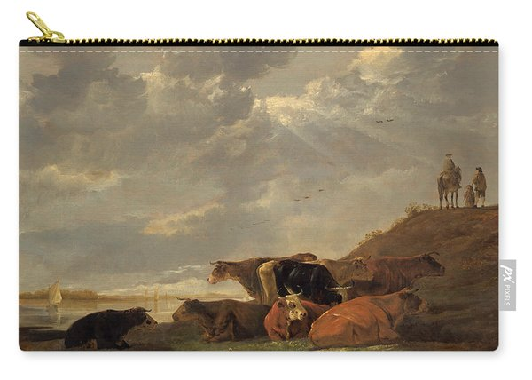 River Landscape With Cows Carry-all Pouch