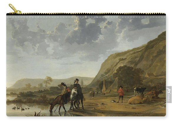 River Landscape With Riders Carry-all Pouch