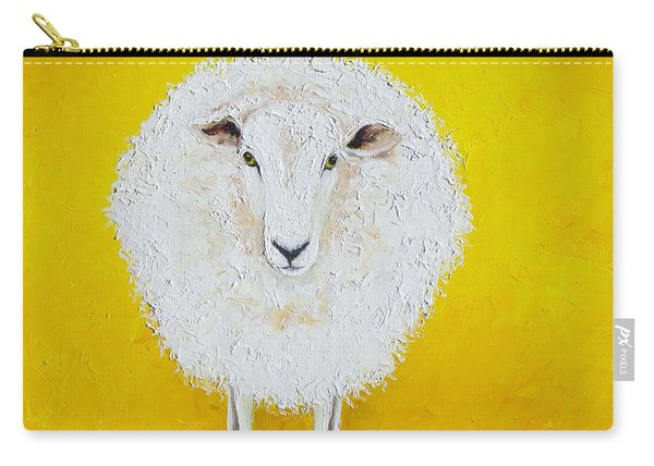 Sheep Painting On Yellow Background Carry-all Pouch